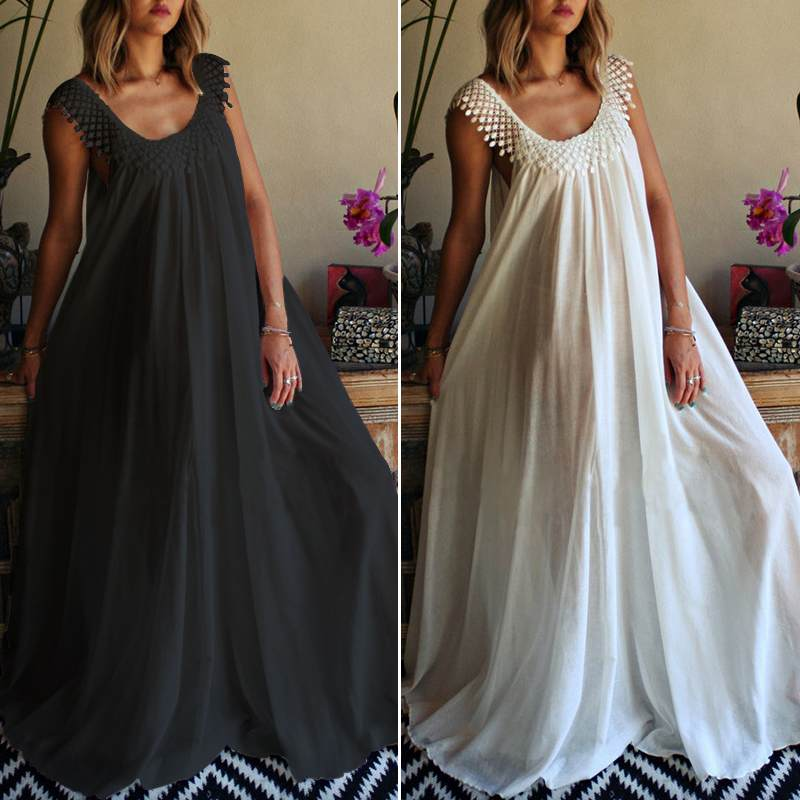 2020 Fashion ZANZEA Women Sleeveless Lace Patchwork Long Maxi Dress Ladies Sexy Summer Sundress Beach Party Robe Whte Dresses