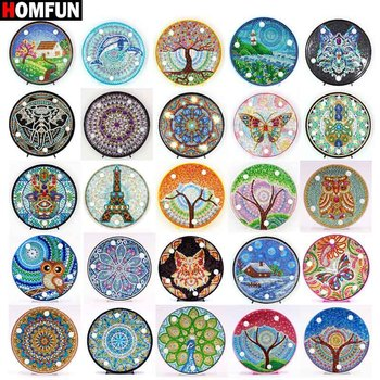 HOMFUN Diamond Painting LED Lamp Light Mandala 5D Diamond Embroidery Landscape Rhinestones DIY Diamond Christmas Halloween Gift