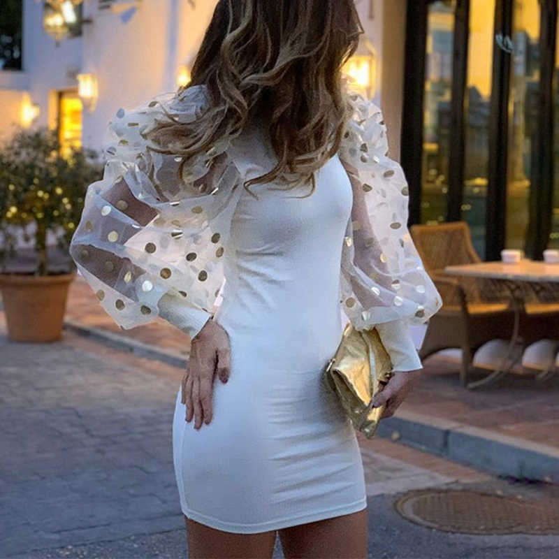 Sexy bouffée à manches longues maille robe tricotée femmes automne O cou Patchwork dentelle robe de soirée à pois imprimé dames robes Vestidos