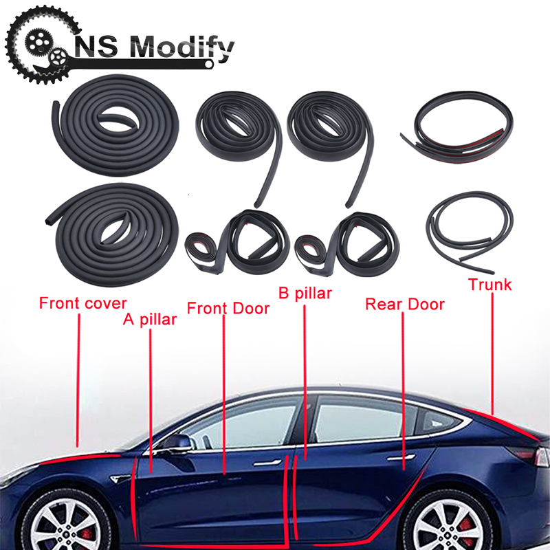 10Pcs Front /Rear Door Truck AB Pillar Soundproof Rubber Weather Seal Strip Noise Reduction Door Seal Kit For Tesla Model 3