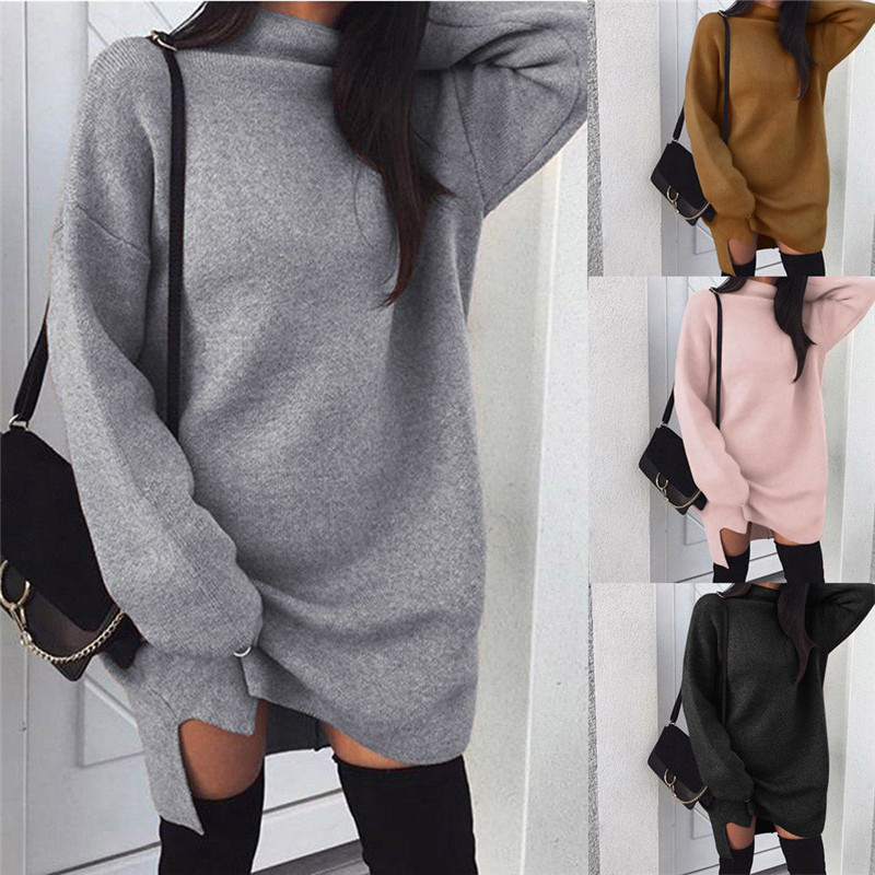 Autumn Winter Women Knitted Baggy Hoodies Sweatshirt Mini Dress Turtleneck Long Sleeve Tops Loose Pullover Women Sweatshirt