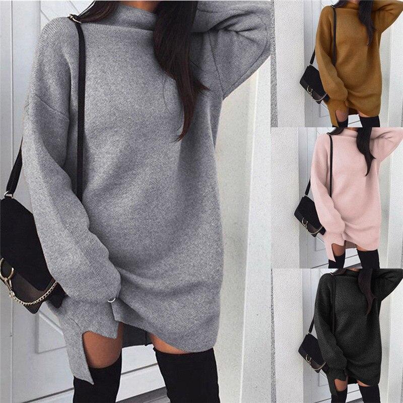 Autumn Winter Women Knitted Baggy Hoodies Sweatshirt Mini Dress Turtleneck Long Sleeve Tops Loose Pullover Women Sweatshirt