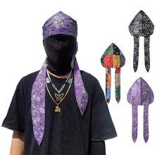 Headwear Turban Cashew Streetwear-Bandana Durag Long-Hat Down-Tail Satin Hip-Hop Tie