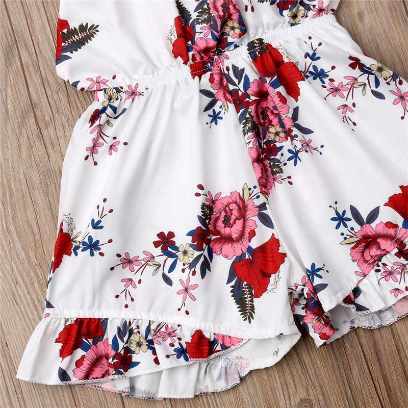 1-6 jahr Nette Kleinkind Baby Mädchen Romper Floral Sunsuit Sommer Baumwolle Halter Overalls Overall Kleidung Kinder Neugeborenen Outfits