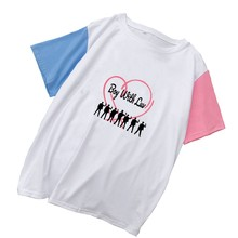 Kpop Bangtan Boys Harajuku Junge mit Luv T Shirt Frauen Baumwolle T-shirt Korean Casual Colorblock Patchwork Tops T Shirt Femme(China)