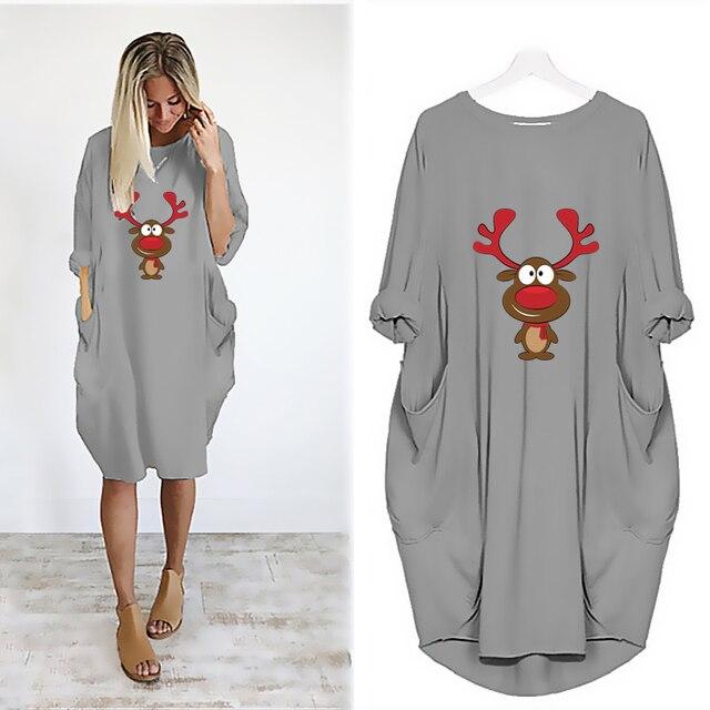 Фото женское винтажное платье миди с принтом оленей и карманами цена