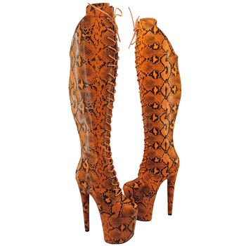 Leecabe  Yellow Snake upper 20CM/8inches Pole dancing shoes High Heel platform Boots closed toe Pole Dance boots jialuowei 20cm heel snake print hologramlace up thigh high pole dance platform faishion boots