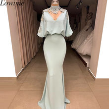 Gorgeous Vintage Arabic Formal Prom Dress 2019 Long Pearls High Neck Evening Dress Mermaid Dubai Women Party Gowns Kaftan(China)