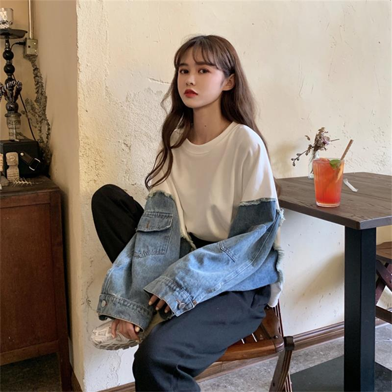 Women's Sweatshirts Korean Chic Ulzzang Denim Stitching Round Neck Vintage Sweatshirt Female Kawaii Cute Svitshot For Women