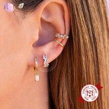 925 prata esterlina pequenos brincos de argola pequena baguette cz huggie hoop brincos para as mulheres jóias da forma
