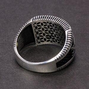 Image 4 - Garantiert 925 Sterling Silber Ringe Retro Vintage Türkische Ringe Mann Ringe Mit Stein Rot Schwarz Onyx Tiger Eye Türkischen Schmuck