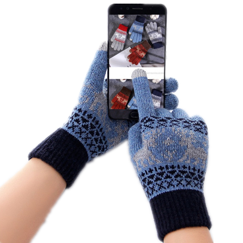 Vintage Christmas Knitted Gloves Women Thicken Touch Screen Gloves Winter Warm Snow Elk Full Finger Mittens Xmas Gift 30OCT10