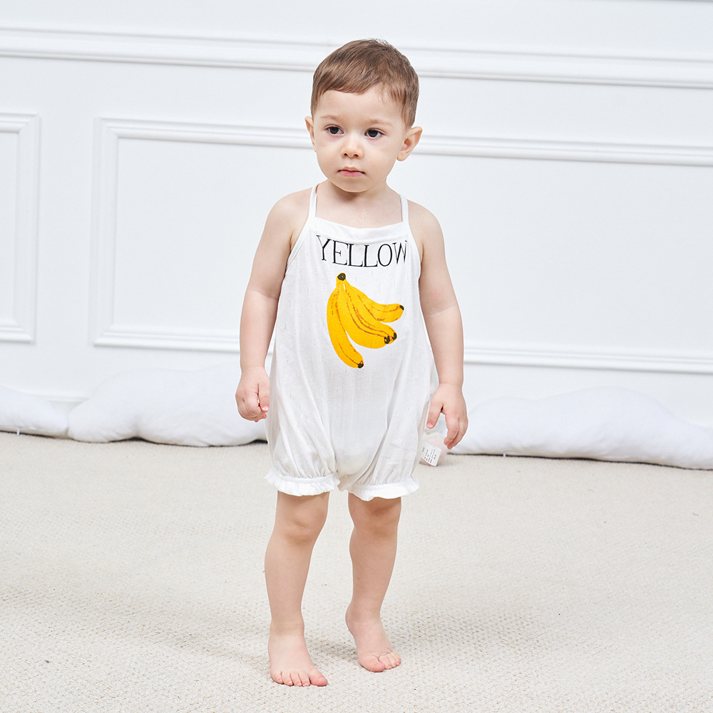 Gu Wu Summer New Style Baby Onesie Cotton Fruit Pattern Baby Camisole Beam Leg Boxer Crawling Clothes