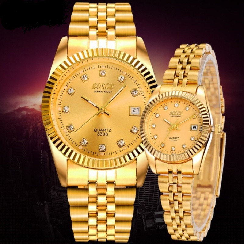 Fashion Couples Wristwatches Mens Gold Luxury Brand Women Dress Watch Reloj Watch Men Relogios Masculinos