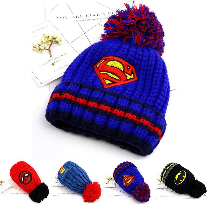 New Children Hairball Wool Cap Kids Winter Cap Warm Spiderman Cap Cartoon Boy Girl Hip Hop Hat Casual Outdoor Hat Beanies Hat
