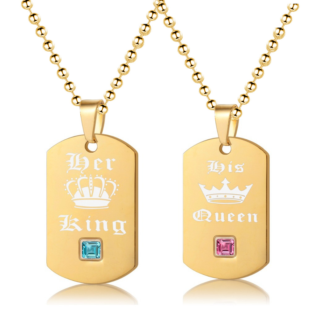 ashion Her King His Queen Tags Crown Pendant Couple Necklace Love Cards Z