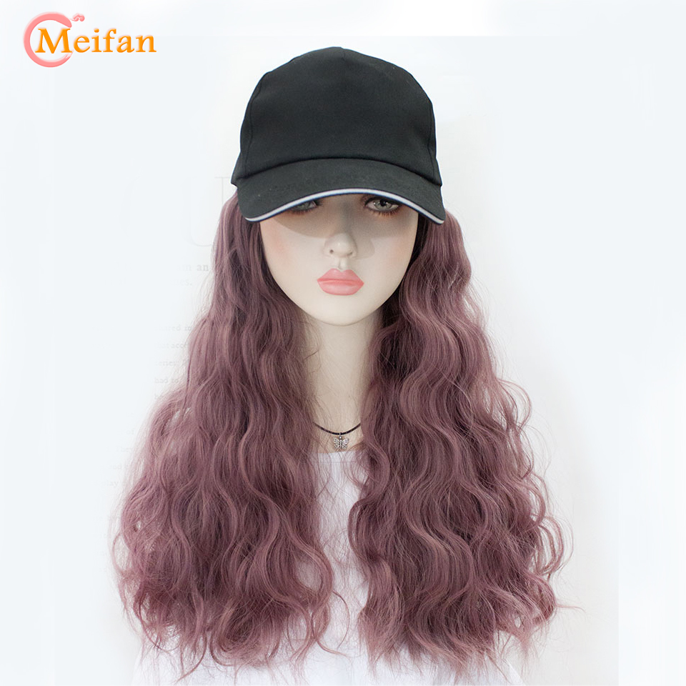 MEIFAN Lolita Cosplay Girl's Curly Hair Wig High Quality Fashion Baseball Cap With Synthetic Hair Extension Long Hair Wig Hat