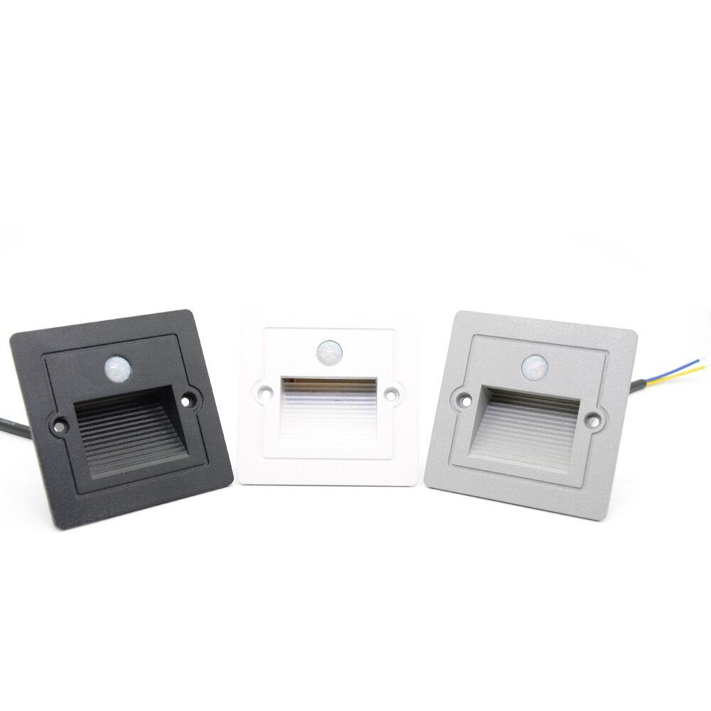 Induction Motion Sensor LED Stair Lights Outdoor Step Night Light Footlight PIR Recessed Exterior Garden Light + Mounting Box