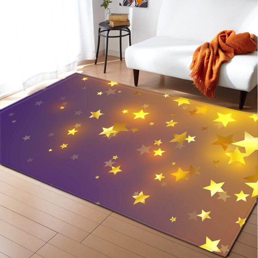 New Starry Sky 3D Printed Carpet Cartoon Children Bedroom Playing Large Carpets Kids Room Crawl Floor Rug Home Hallway Doormat