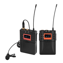 Wireless Lavalier Microphone System UHF 60 channels One Transmitter One Receiver for DSLR Camera Smartphone PC Tablet Recording