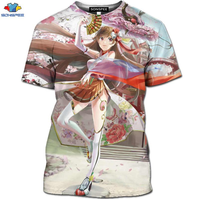 Sonspee verão de manga curta anime original camiseta 3d impressão dos desenhos animados dos homens camisa diversão loli beleza basquete formação topos