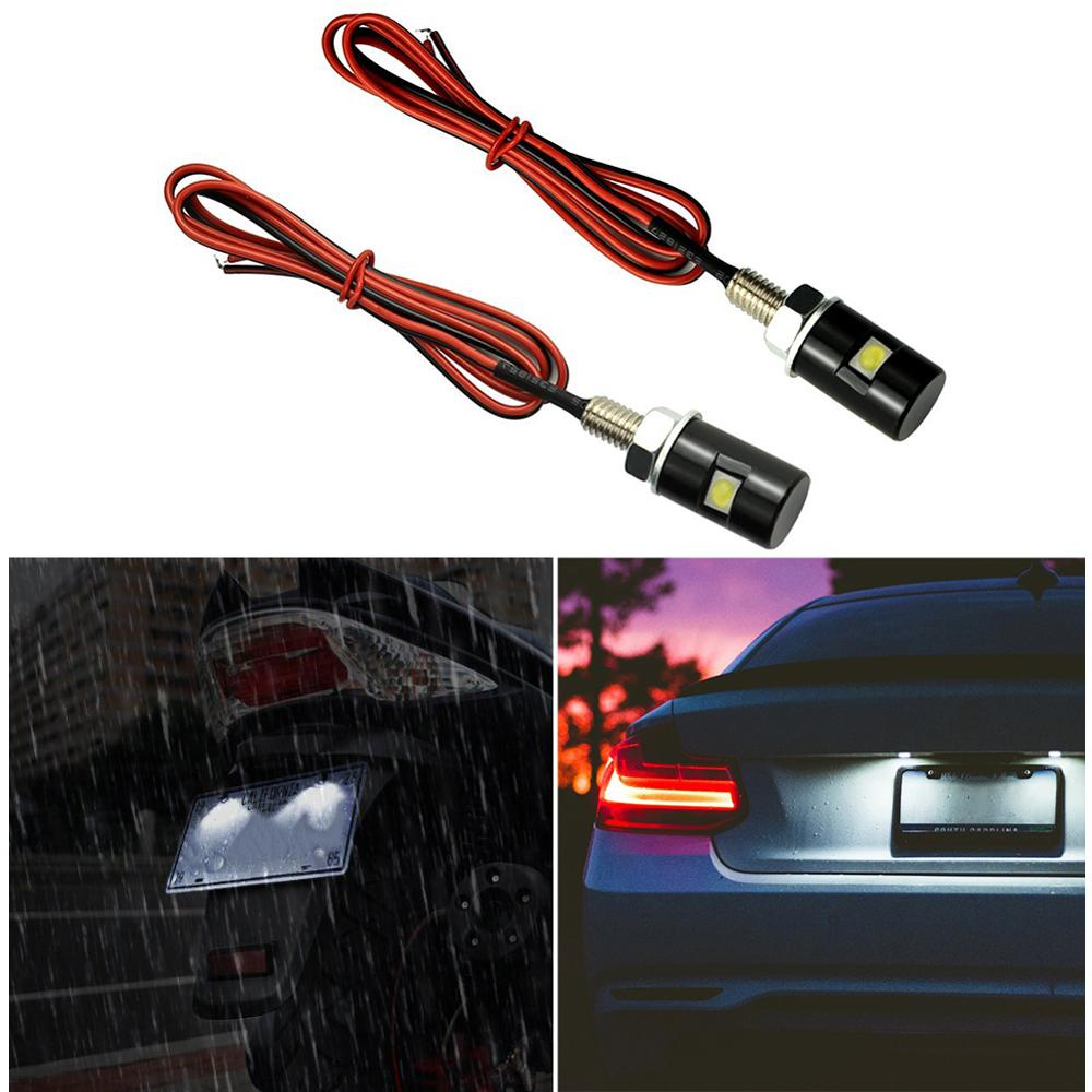 Waterproof Number Plate Lamps Light Bulbs 12V LED Bolt Screw For Motorcycle 2Pcs
