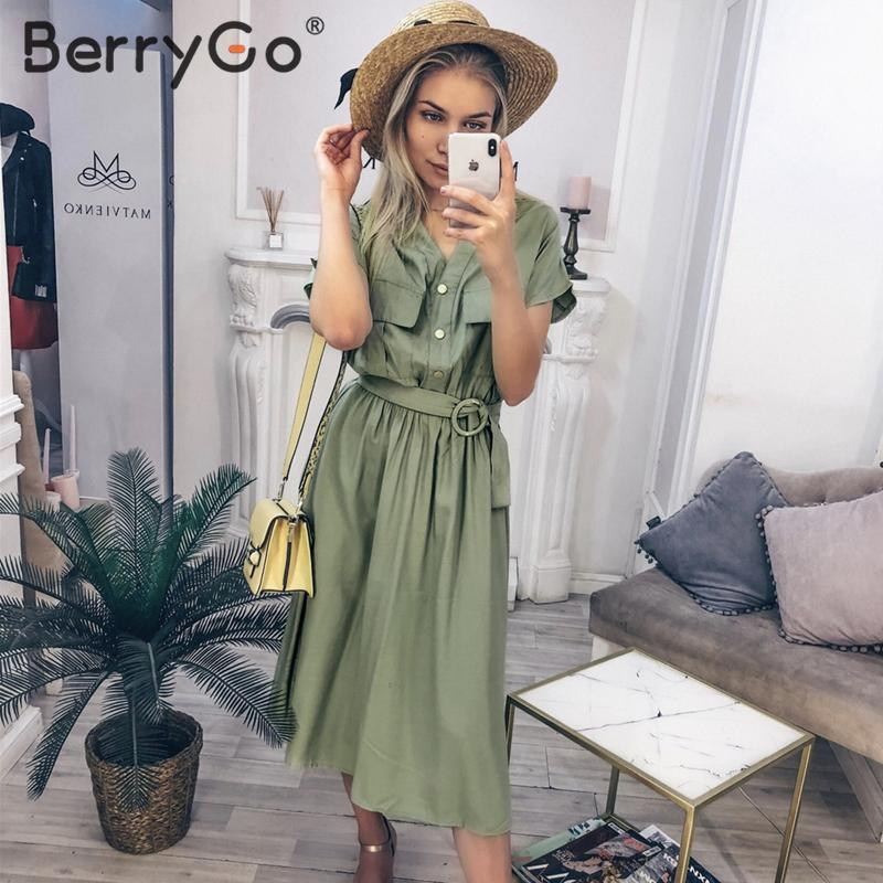 BerryGo Vintage V-neck Summer Dress Women Casual Streetwear Office Ladies Pockets Dress Elegant Buttons Belt Midi Dress Vestidos