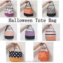 Halloween Bucket 1pcs Trick or Treat Bag Canvas Candy Cane Basket Decoration Kids Gift Pumpkin Tote