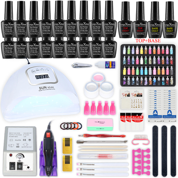 Manicure kit Nail Dryer nail Tools electric nail drill machine Nail Rhinestone Nail Art Decoration with 18/10pcs Nail Gel Polish