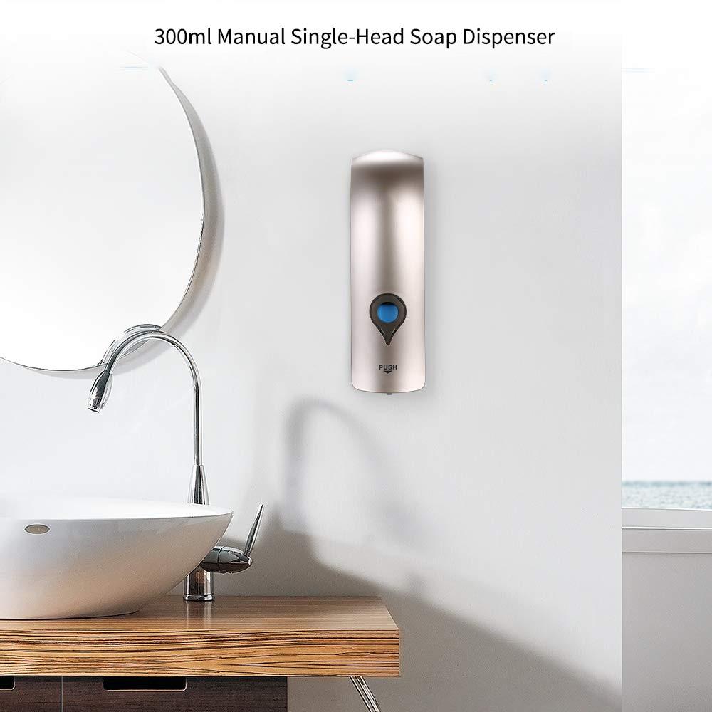 H208d59722cd3439d90b399dce5d5bd47s Wall Mounted Single Head Wall Soap Dispenser Shower Gel Liquid Shampoo Disinfectant Dispenser Holder 300 ML For Hotel Home