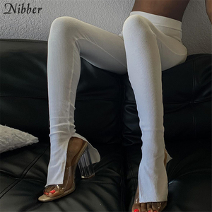 Nibber Simple black white Pleated design pencil pants for women 2020 autumn street casual wear High waist Tight trousers female