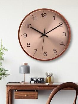 Nordic Luxury Wall Clock Metal Wood Clock Creative Wall Clocks Mute Home Living Room Bedroom Relol Para Casa Modern Design DD45W