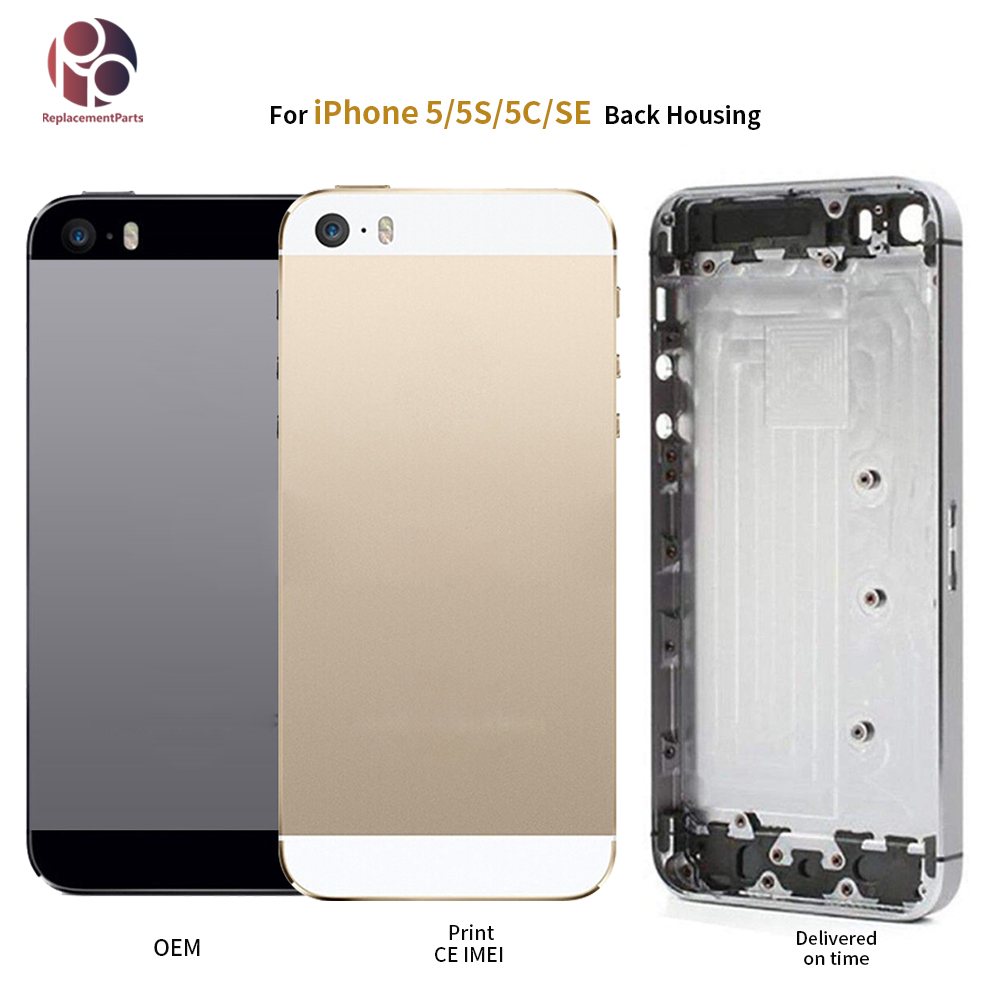 Back Housing For IPhone 5 5G 5S SE Battery Rear Door Cover Middle Frame Chassis Body + IMEI Replacement