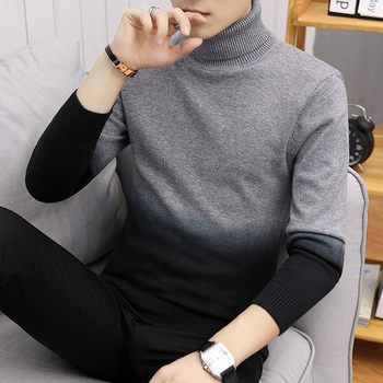 grey black mens turtleneck solid knitted sweater
