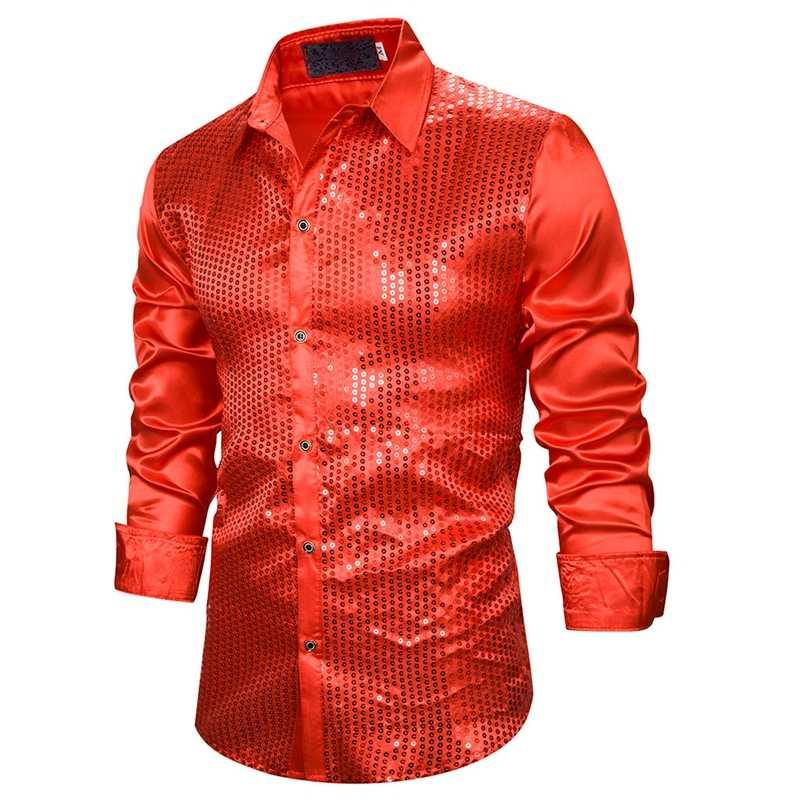 Laamei Mới Men'Luxury Đầm Đầm Sơ Mi Tay Dài Lụa Satin Sáng Bóng Áo Chemise Giai Đoạn Nhảy Áo Sơ Mi
