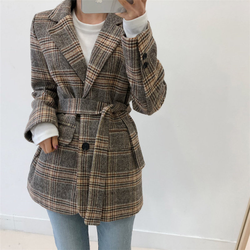 HziriP 2020 Winter Elegance All Match Streetwear Feminine Loose Plus Slim Geometric Fashion Office Lady Casual Plaid Blazers