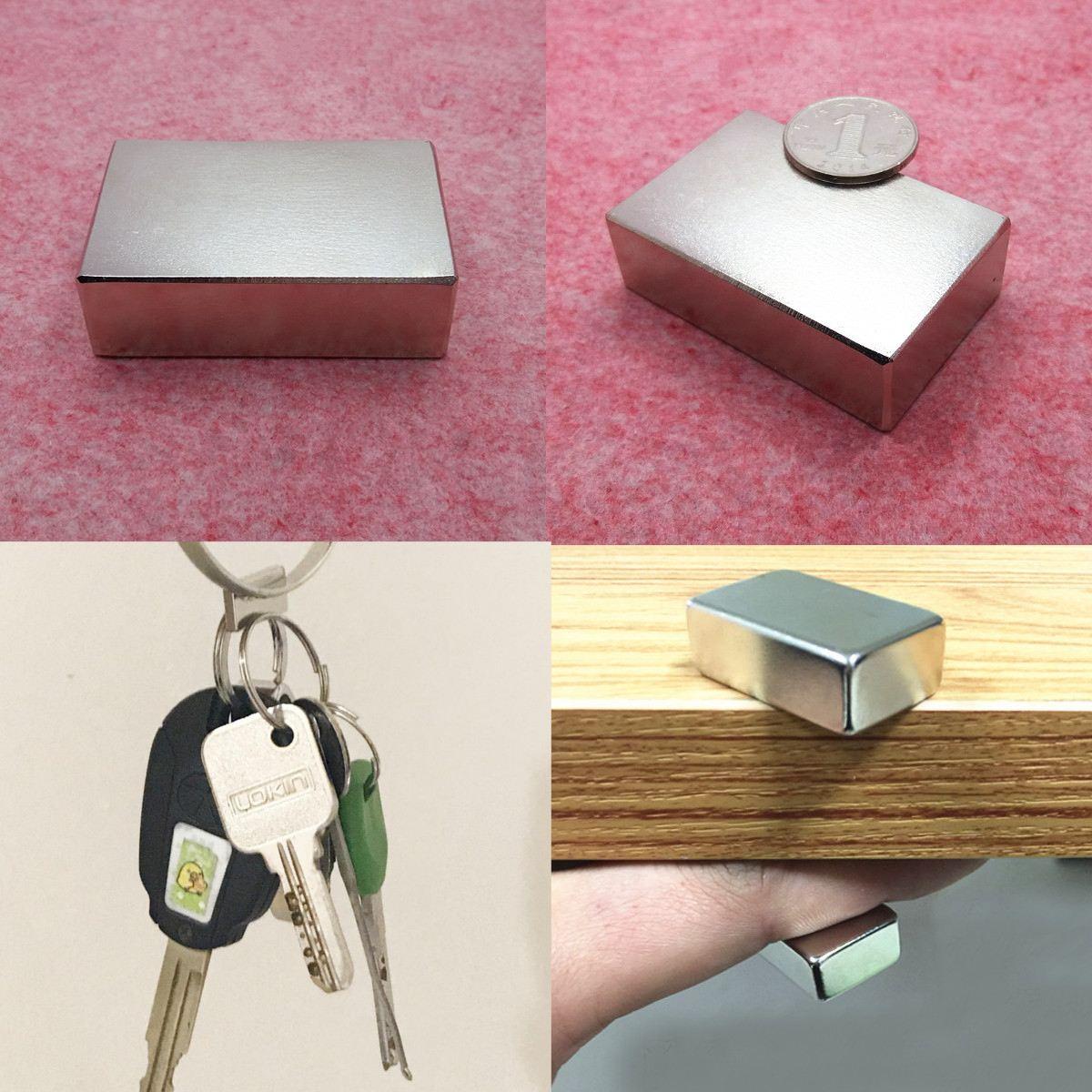 New N52 1pcs Huge Neodymium Block Magnet Permanent Super Strong Fridge Rare Earth Magnets Cuboid Magnetic Materials 60x40x20mm
