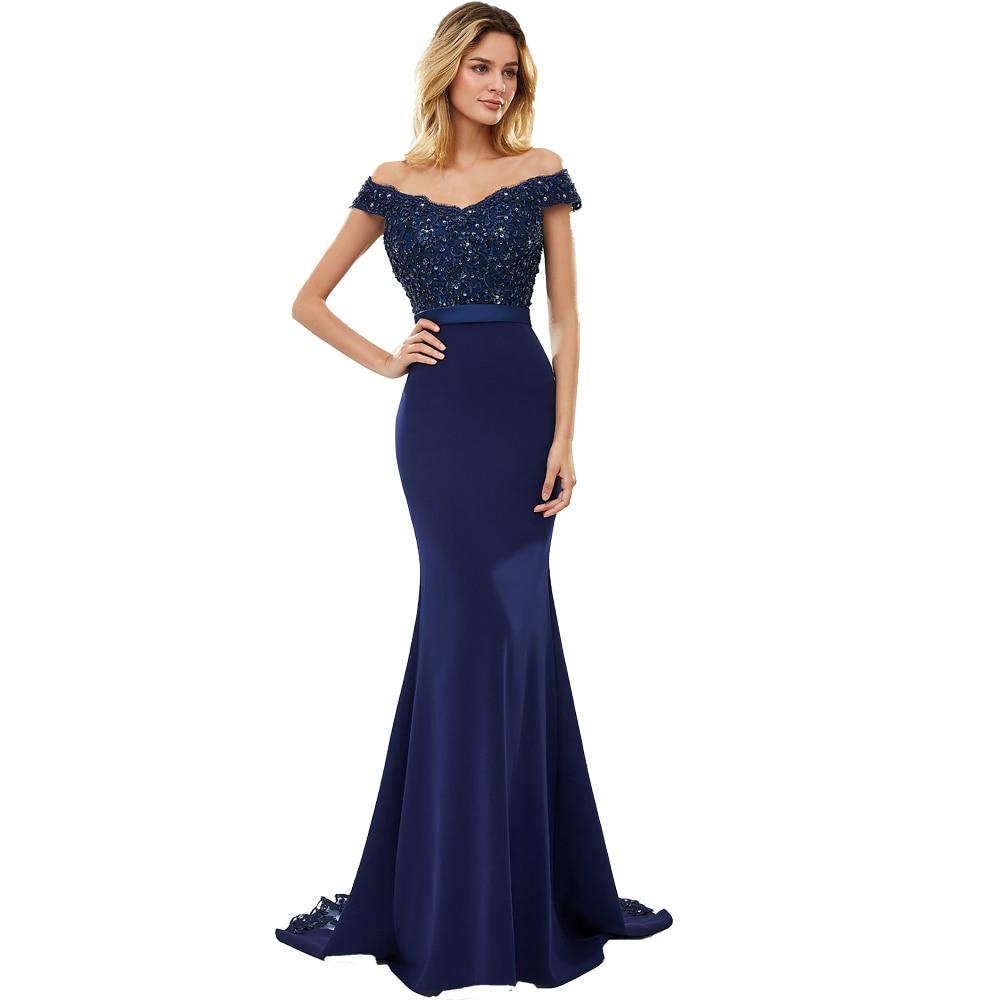 BEPEITHY Sexy hors de l'épaule longue robe de soirée partie élégante 2019 100% perles à la main sirène robes de bal expédition rapide