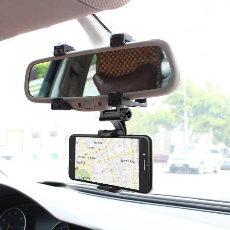 Xmxczkj Smartphone Pemegang Kaca Spion Mobil Gunung Ponsel Pemegang untuk iPhone Xiaomi GPS Universal Mobil Ponsel Pemegang 360 Derajat