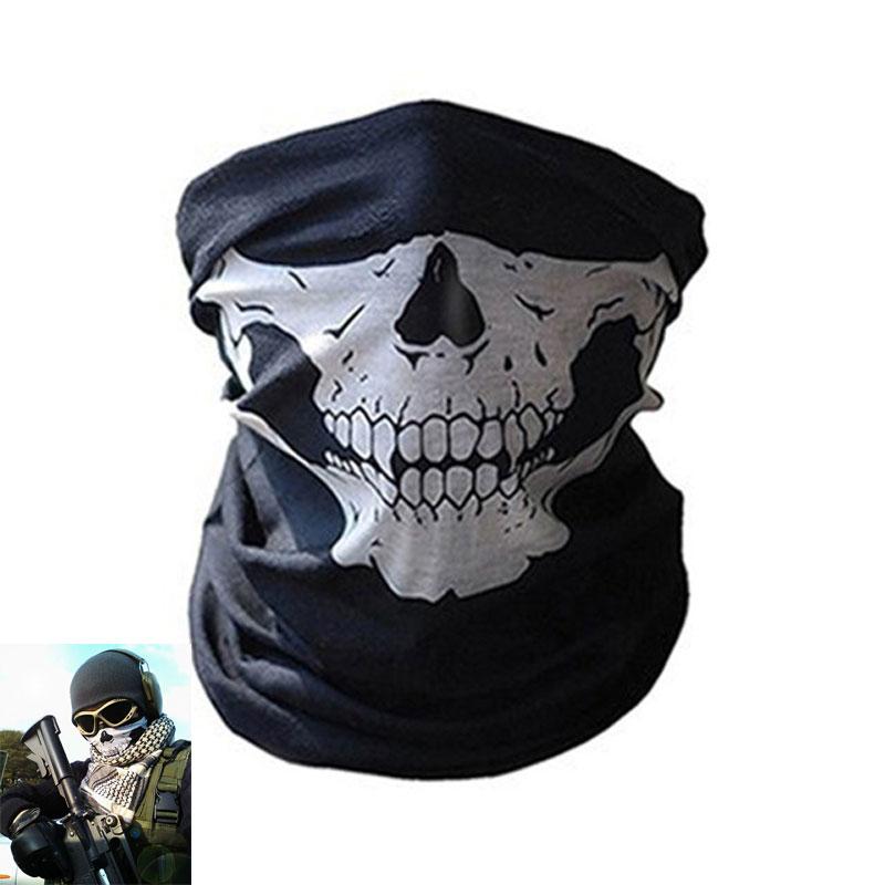 Ghost Mask Scarf Military Tactical Mask Balaclava Men Bicycle Ski Skull Half Face Shield Mask Multi Use Neck Warmer Bandana