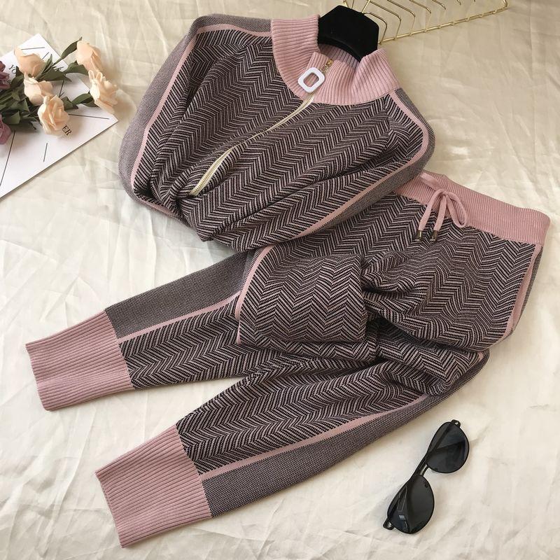Image 5 - Women Turtleneck Zipper Cardigans 2 Piece Set Tracksuit Autumn  Winter Sweatsuits Knitted Sport Sweater Pant Set Trousers SuitsWomens  Sets