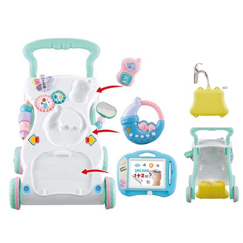 Andador de bebé de alta calidad con caja de agua estable multifuncional carrito de pie para sentarse juguetes para niños aprendizaje caminar actividad Ejercicio seguro cuidado del bebé aprendizaje arnés para caminar mochila Stick Sling Boy Girls ayuda infantil andador asistente alas de cinturón
