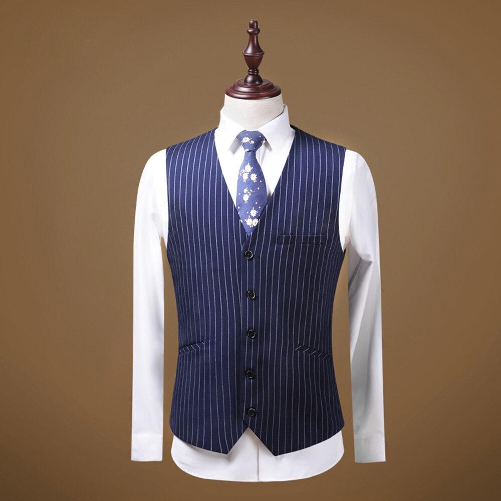 Suits Men 2019 Mens Suit 3 Piece V Neck Pinstripe Wedding Groomman Notched Lapel Tuxedos (Blazer+Vest+Pants) - 2