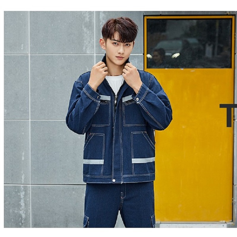 Worker Clothing Denim Overalls Labor Insurance Suits Turn Down Collar Long-sleeved Welders Anti-scalding Fire-retardant Uniforms