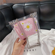 Transparent small bag female 2020 new small fresh child and mother jelly printed chain crossbody bucket bag transparent bucket bag and pouch bag