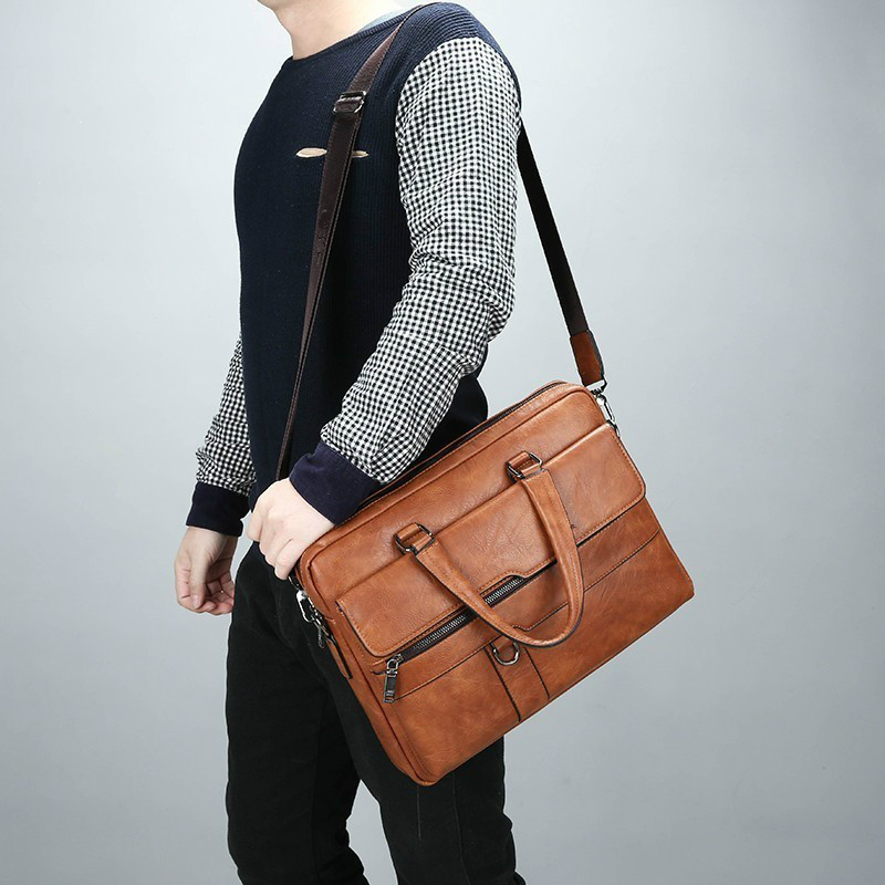 Bolso Hombre Leather Laptop Bag Business Briefcase Men 14 Inch Computer Bags Men Maletin Hombre Trabajo Leather Messenger Bag