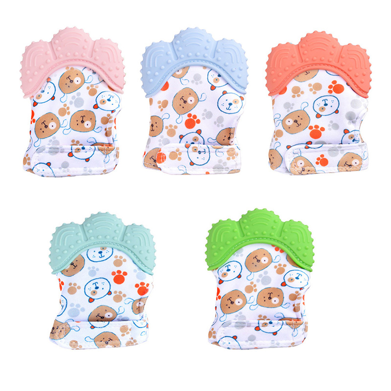 Baby Teether Gloves Safety Molar Stick Non Toxic Silicone Material Bite Stick Cute Cartoon Pattern High Quality Teether Gloves