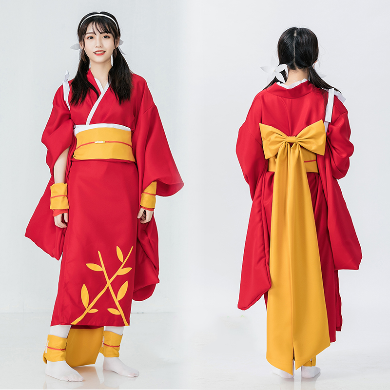 Japanese Style Retro Kimono Long Gown Woman Novelty Evening Party Dress Cosplay Costume Bow Dress