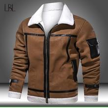 Jacket Motorcycle Coats Winter Warm Thicken PU Sportswear Fur-Lined Fleece Male Men