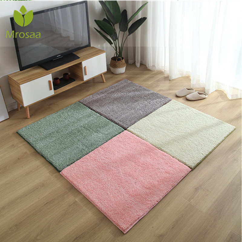 1pc 40/60/80/100cm Living Room Bedroom Children Kids Non-slip Plush Soft Carpet Patchwork Jigsaw Splice Heads Climbing Baby Mat